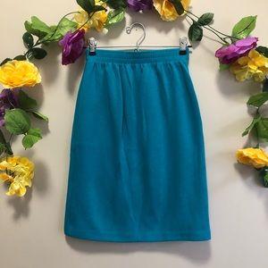 Vintage Weekenders Blue / Teal Fine Knit Skirt S